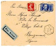 BAS RHIN ENV 1938 BUST AGENCE POSTALE (517 HABITANTS EN 1936) 336 337 LETTRE AVION => BOUZARIA ALGERIE . SCANS - Storia Postale