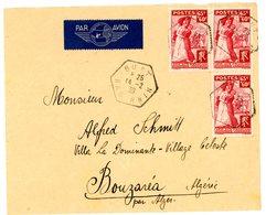 BAS RHIN ENV 1939 BUST AGENCE POSTALE (517 HABITANTS EN 1936) SURTAXE 401 X 3 LETTRE AVION => BOUZARIA ALGERIE . SCANS - Storia Postale