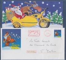 = Joyeux Noël Père Noël En Patin Adresse Un Message Aux Enfants Carte Jointe Libourne 4.12.96 Flamme Renne Entier 2846 - Noël
