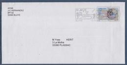 = Blaye Cité Et Vignoble Historiques 13.12.00 Sur Enveloppe Entier 2001 Nouveau Millénaire N°3357 - Oblitérations Mécaniques (flammes)