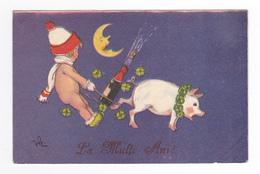 Roumanie Bucuresti La Multi Ani Enfant Cochon Lune Champagne Nouvel An En 1930 Illustrateur à Déterminer ? VOIR DOS - Romania