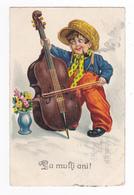 Roumanie Bucuresti La Multi Ani Enfant Pipe Chapeau Violoncelle EAS 1104 En 1930 VOIR DOS Illustrateur à Déterminer - Romania
