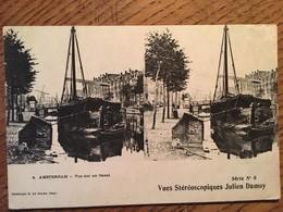 CPA AMSTERDAM , Vues Stereoscopiques - VUE SUR LE CANAL - Mini Manque Angle Au Verso - CPA NON VOYAGEE - Amsterdam