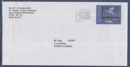 """= Blaye Cité Et Vignoble Historiques 2.10.00 Sur Enveloppe Entier Magritte """"Le Retour"""" N°3145 - Oblitérations Mécaniques (flammes)"""