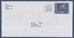 """= Blaye Cité Et Vignoble Historiques 13.11.00 Sur Enveloppe Entier Magritte """"Le Retour"""" N°3145 - Oblitérations Mécaniques (flammes)"""