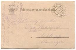 AUSTRIA  WW1 - K.u.K. FELDPOST, KARLOVAČKO 26. PUČKO USTAŠKO ZAPOVJ. 1915. TRAVELED TO OSIJEK, SEAL BRANJEVO BOSNIA - WW1