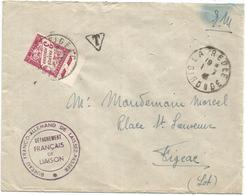 TAXE 3FR VIOLET FIGEAC LOT 1941 LETTRE FM LA REOLE GIRONDE + BUREAU FRANCO ALLEMAND LAISSEZ PASSER DETACHEMENT FRANCAIS - Marcophilie (Lettres)