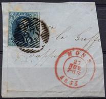 N° 7 (bien Margé) Oblitération P83 (17 Barres) De MONS Sur Fragment - 1851-1857 Medallions (6/8)