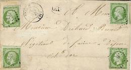 1862- Lettre De CHAGNY ( Saône Et Loire ) Cad Y 15 Affr. N° 12 X 4  Oblit. Pc 693 - Marcophilie (Lettres)