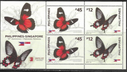 PHILIPPINES, 2019, MNH, JOINT ISSUE WITH  SINGAPORE,DIPLOMATIC RELATIONS, INSECTS, BUTTERFLIES, SINGPEX EXHIBITION, SLT - Farfalle