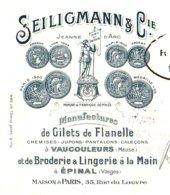 """SEILIGMANN  Manufacture Giles De Flanelle  VAUCOULEURS  55   Illustration """"Jeanne D'Arc"""" - Cambiali"""