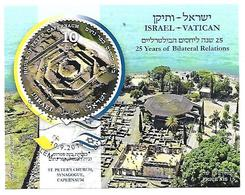 VA045 - ISRAELE 2019 - EMISSIONE CONGIUNTA VATICANO FOGLIETTO 25° ANNIVERSARIO RELAZIONI VATICANO ISRAELE - Vaticano