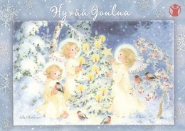 Postal Stationery - Birds - Bullfinches - Angels Decorating Xmas Tree - Save The Kids - Suomi Finland - Postage Paid - Finlandia