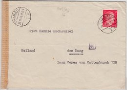 DR - 12 Pfg. AH, Zensurbrief Europatarif N. HOLLAND, Hanau - Den Haag 1944 - Germany