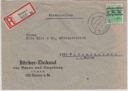 Bizone - 84 Pfg. Arbeiter/Band, Einschreibebrief Hanau - Witzenhausen 1948 - American/British Zone