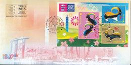Singapore Souvenir Cover With Minisheet Taipei 2015 Stamp Exhibition 25-4-2015 - Singapour (1959-...)