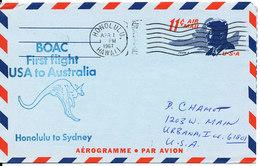 USA Aerogramme First BOAC Flight Honolulu - Sydney 1-4-1967 - Enveloppes évenementielles