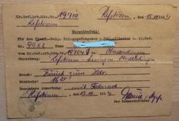 Ausweis - LAISSER PASSER Allemand - Der Kommanduführer - Prisonnier De Guerre Belge - 1939-45