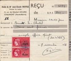 Fiscaux Sur Documents - Revenue Stamps