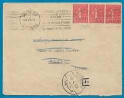 Maury 199 IIA Dryfuss B050107 - Bande De 3 Sur Lettre Pour La Syrie - O - 1903-60 Semeuse Lignée