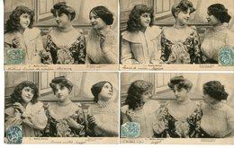 1600. SERIE DE 6 CPA TROIS FEMMES. PETITS POTINS 1905 CACHETS JARNAC RUELLE - Donne