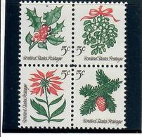 STATI UNITI U.S.A. 1964 - FLORA - NATALE - QUARTINA   - MNH ** - Stati Uniti