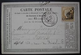 Amiens,1875 Carte Précurseur - Postmark Collection (Covers)