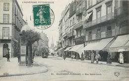 CPA 63 Puy-de-Dôme Clermont Ferrand Rue Saint Louis - Tramway - Luciline - Chocolat Menier - Vichy Celestins - Clermont Ferrand