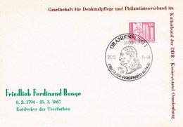 DDR Sonderumschlag Oranienburg - Friedrich Ferdinand Runge, Entdecker Der Teerfarben, Chemie - [6] République Démocratique