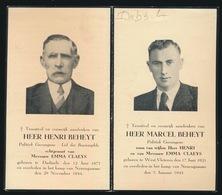 KAMP NUENGAMME 1944/45 - VADER EN ZOON HENRI EN MARCEL BEHEYT - DADIZELE 1875 - WEST VLETEREN 1921 - Obituary Notices