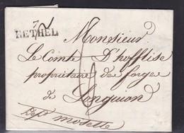 France, Ardennes - 7/Rethel Sur LAC De 1827 - Indice 6 - Postmark Collection (Covers)