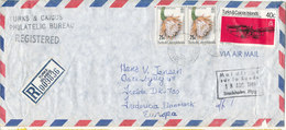 Turks & Caicos Registered Air Mail Cover Sent To Denmark 7-8-1981 Topic Stamps (a Tear At The Bottom Of The Cover) - Turks And Caicos
