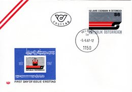 FDC - 150 Jahre Eisenbahn In Österreich 1150 Wien 1987 - FDC