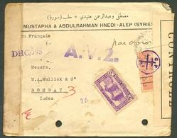 SYRIA 1940 AIR INDIA PUNCH HOLE COVER 45598 DOUBLE CENSOR SC 268 & 279 KASR HEIR - Syria