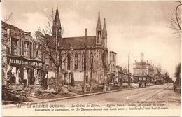 3H10  ---  51  REIMS  Eglise St Thomas Et Avenue De Laon Bombardées Et Incendiées - Reims