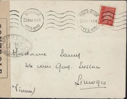 Guerre 39 Censure Cachet Ouvert Par Les Autorités De Contrôle LA 155 Deloste P85 Limoges + Cachet LA O Censeur - Storia Postale