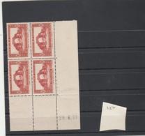 Algérie Yvert 139 *  Bloc De 4 Coin Daté 29/6/39 - Neufs Avec Charnière - Algerien (1924-1962)