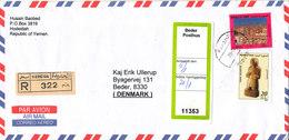 Yemen Registered Air Mail Cover Sent To Denmark 28-12-2003 - Yemen