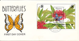 Guyana FDC 17-11-1989  BUTTERFLIY Souvenir Sheet Express World Stamp Expo 89 Washington D.C. With Cachet - Guyane (1966-...)