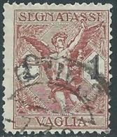 1924 REGNO SEGNATASSE PER VAGLIA USATO 1 LIRA - RB38-3 - 1900-44 Vittorio Emanuele III