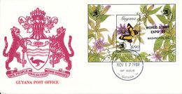 Guyana FDC 17-11-1989  BUTTERFLY Souvenir Sheet Express World Stamp Expo 89 Washington D.C. With Cachet - Guyane (1966-...)