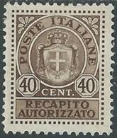 1945 LUOGOTENENZA RECAPITO AUTORIZZATO 40 CENT MH * - RB8-6 - 5. 1944-46 Lieutenance & Umberto II