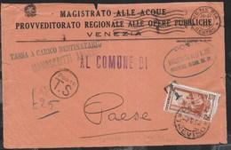 STORIA POSTALE REPUBBLICA - LIRE 25 ITALIA AL LAVORO USO COME SEGNATASSE SU FRONTESPIZIO DA VENEZIA 07.08.1952 PER PAESE - 6. 1946-.. Repubblica