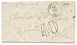 MARQUE POSTALE / DOULAINCOURT HAUTE MARNE / POUR JOINVILLE 1871 / TAXE 40 DOUBLE TRAIT - Postmark Collection (Covers)