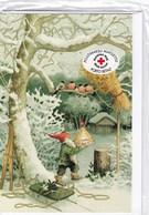 Postal Stationery - Birds - Elf Feeding Bullfinches - Red Cross - Suomi Finland - Postage Paid - Double Card - Finlandia