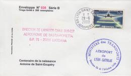 Enveloppe    FRANCE   Centenaire  SAINT  EXUPERY   Aéroport  De  LYON   2000 - Postmark Collection (Covers)