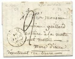 MARQUE POSTALE / CURSIVE ABRIES AU RECTO POUR LA MOTTE ST MARTIN ISERE 1850 / CURSIVE AU VERSO - 1849-1876: Période Classique