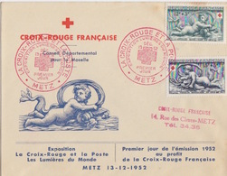 Lettre Illustrée 1° Jour, TP Croix-rouge N° 937, 938 (Versailles, Bassin De Diane) Obl Metz 13 Déc 52 (cachet Rouge) - 1950-59