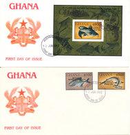 Ghana FDC 13-6-1993 FISH Complete Set Of 2 + Souvenir Sheet Overprinted 35 Years Of Rotary International Ghana 1958 On 2 - Ghana (1957-...)