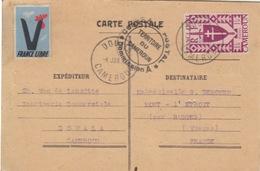 CP Familliale De Douala Pour Mont L'Etoit  Le 4 Jan 43 Sur N° 255 (série De Londres) + Vignette France Libre + Censure - Camerún (1915-1959)